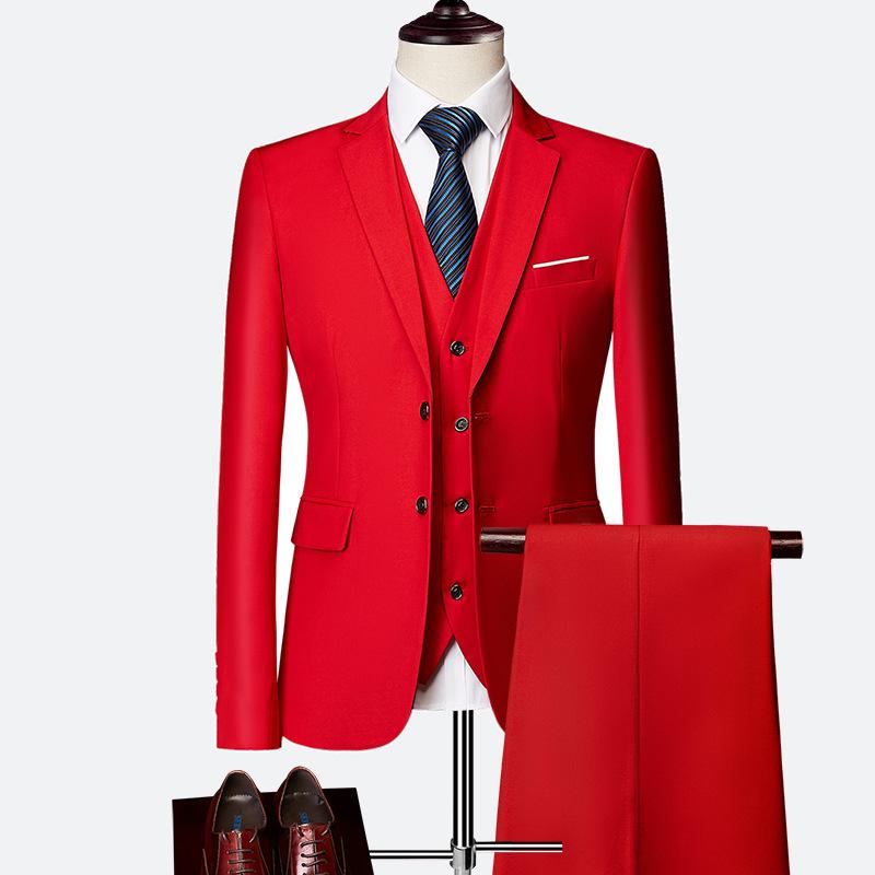 外贸爆款礼品服男装男士商务休闲西装三件套两粒扣套装大红色西服