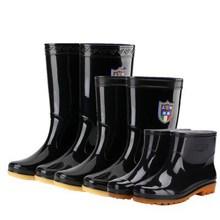 圓頭男鞋短筒雨鞋男中筒高幫單鞋塑膠短靴黑色刷車老式勞保膠鞋