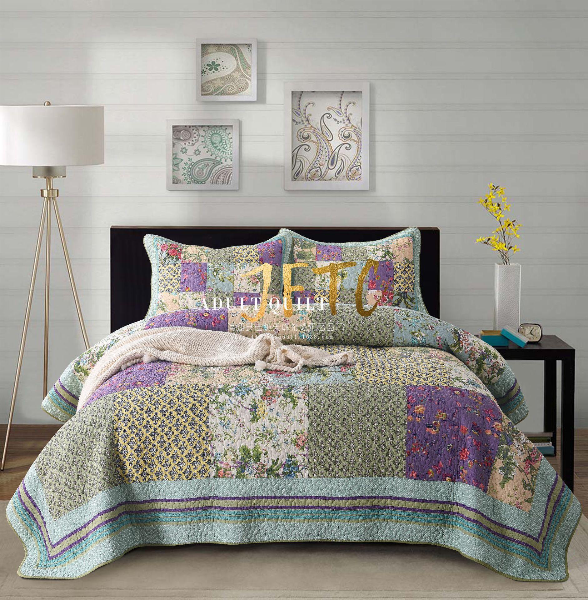 外贸出口欧美绗缝被纯棉床盖欧式手工拼布夹棉加厚床单床罩三件套