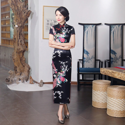 Chinese Dress Qipao for women cheongsam Skirt Length Satin printing banquet women clothing wholesale