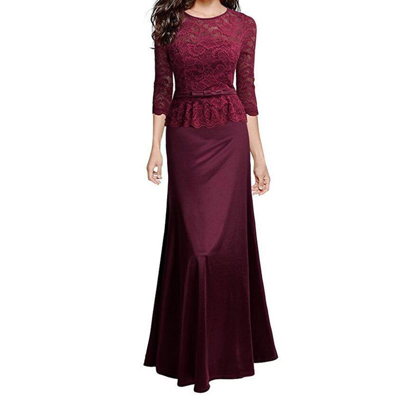 精选eBay热卖外贸 2018欧美新款女装伴娘晚会聚餐礼服连衣裙长裙