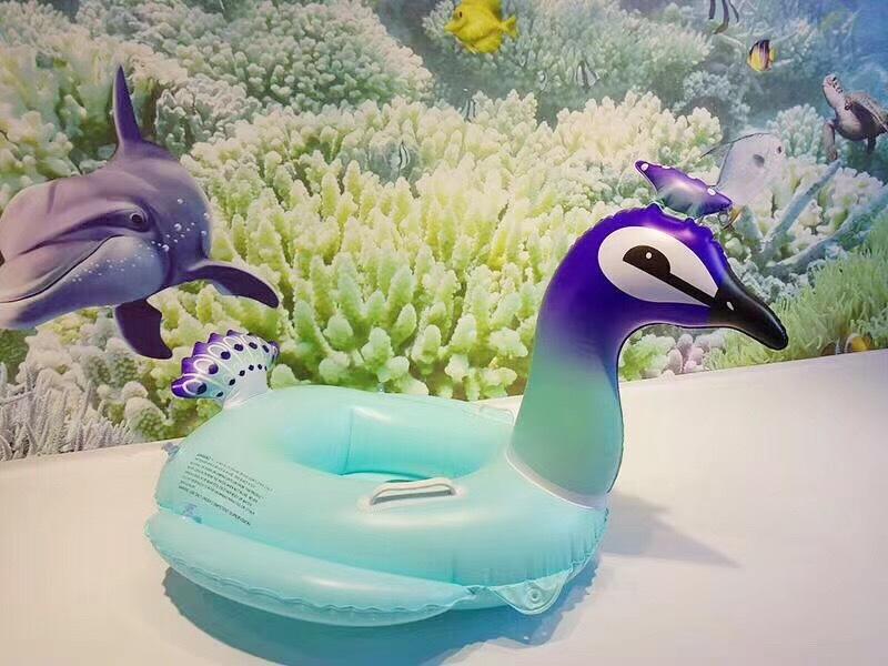 Inflatable bottom sequins unicorn swim ring NHWW142514