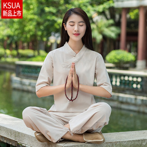Taichi kung fu clothing for women Cotton Hemp Yoga suit for female loose fitting clothes morning exercises suit for women