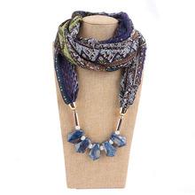 歐美樹脂吊墜圓環圍脖 女士披肩脖子飾品項鏈民族風雪紡圍巾