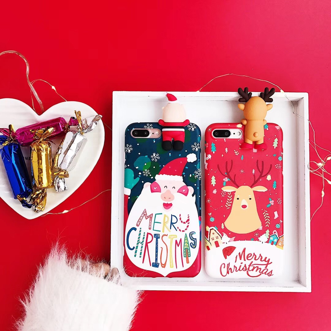 Applicable Christmas mobile phone shell apple xsmax soft shell xr/x silicone iphone7/8plus protective cover female models