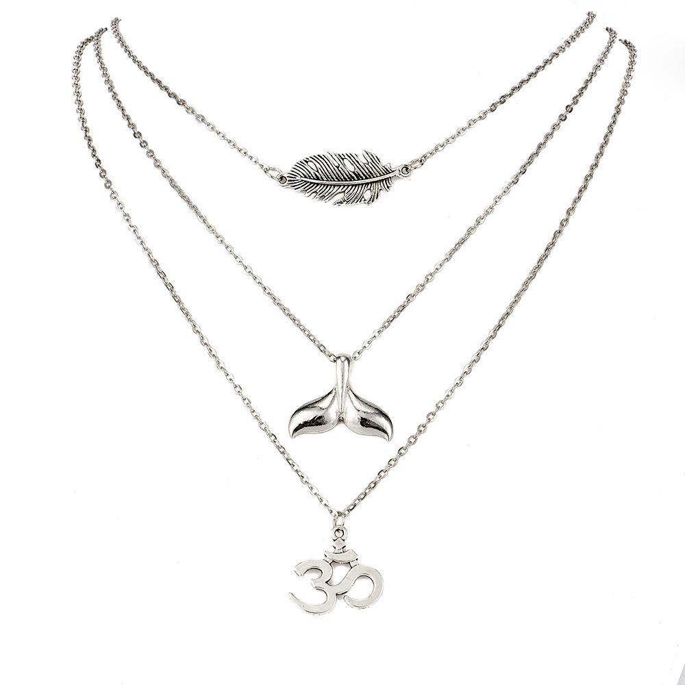 Collar de mujer colgante de cola de pez de plumas de hoja de mltiples capas de moda NHAJ252482