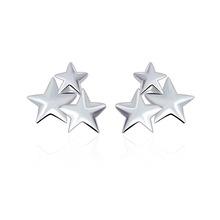 镀925银星星耳钉银饰女韩版光面耳饰首饰耳环厂家批发