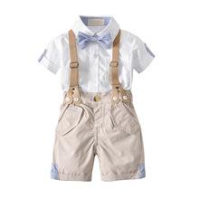 2018夏季纯棉韩版男宝宝领结绅士背带短裤短袖衬衫四件套儿童套装