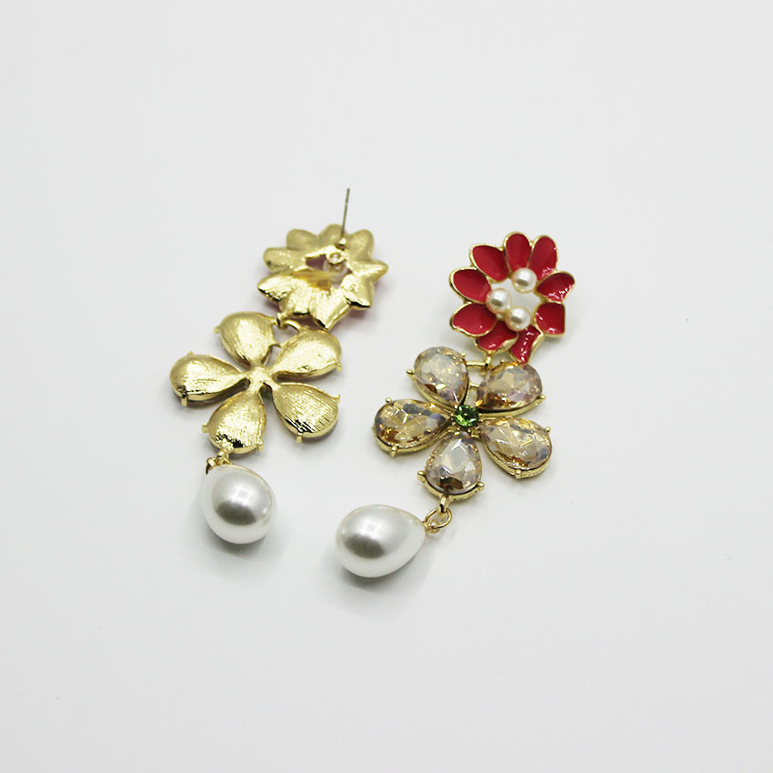 Baroque metal flower artificial gemstone tassel pearl earrings NHWJ156735