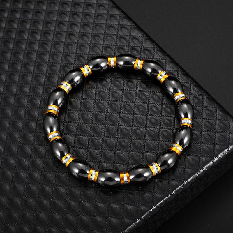 Fashion Natural Stone Inlaid precious stones Bracelets Geometric (Steel color)  NHLP0906-Steel color