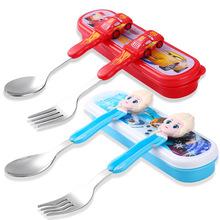 清仓迪士尼儿童吃饭餐具不锈钢勺叉婴儿勺子宝宝叉子叉勺套装调羹