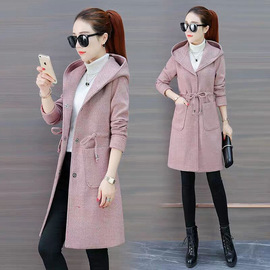 Spring and Autumn New Style Herringbone Double-Sided Cashmere Coat Hooded College Wind Coat