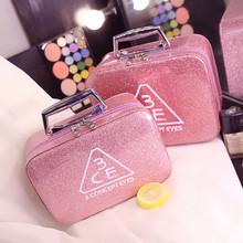 化妆包便携韩国简约可爱少女心大号大容量收纳盒品化妆箱手提420g