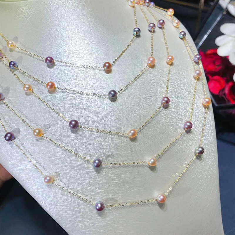 天然色淡水珍珠项链 18K金满天星混彩珍珠项链 4-5mm正圆无暇珠子