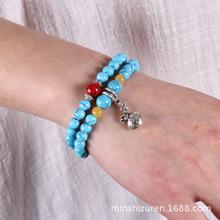 新款波西米亚民族风饰品蓝松石佛珠多层弹力手链韩版女款个性首饰