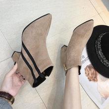 复古短靴2018秋冬新款女鞋英伦风瘦瘦靴粗跟尖头磨砂侧拉链马丁靴