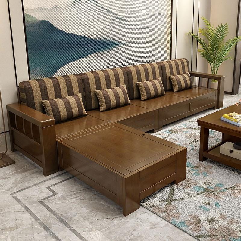 新中式实木沙发转角组合小户型客厅家具现代冬夏两用三人储物沙发