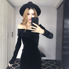 Celebrity nightclub style temperament ladies fashion v-neck ruffled tight sexy off-the-shoulder velvet dress autumn and winter models