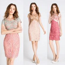 新款圆领短袖高端拼色绣花修身收腰包臀气质优雅小香风女装连衣裙