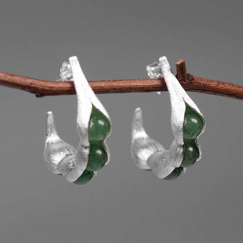 厂家直供原创物色 豌豆荚 仿真自然东陵玉S925纯银女款耳环耳钉