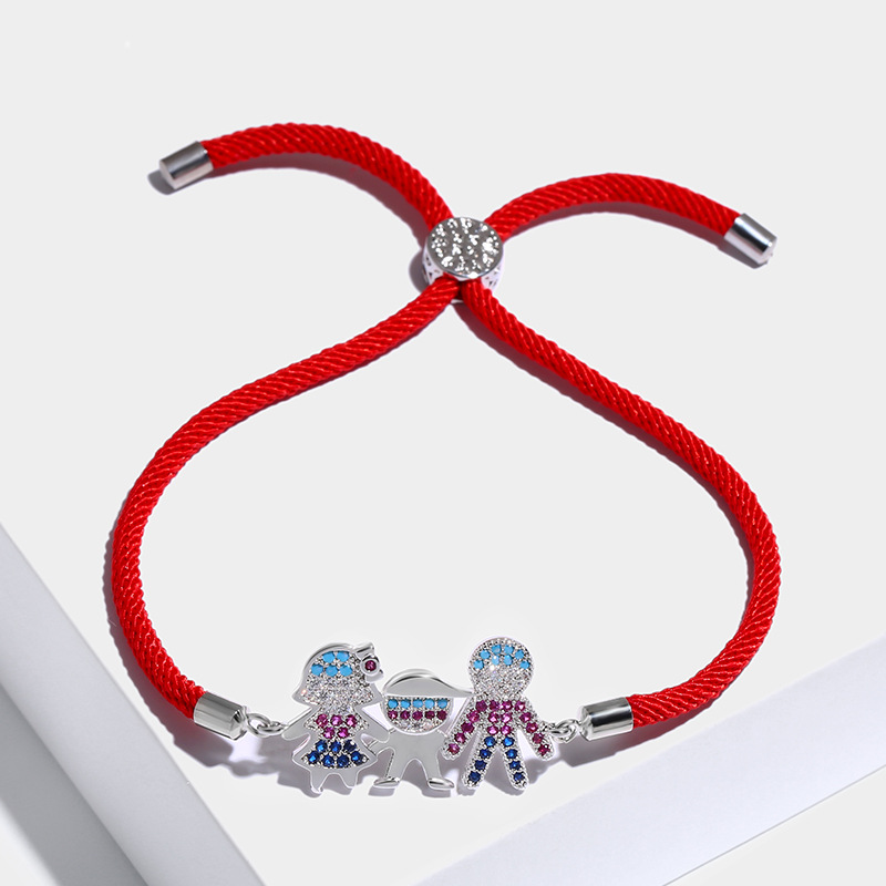 Copper Korea Geometric bracelet  (Red rope alloy)  Fine Jewelry NHAS0396-Red-rope-alloy