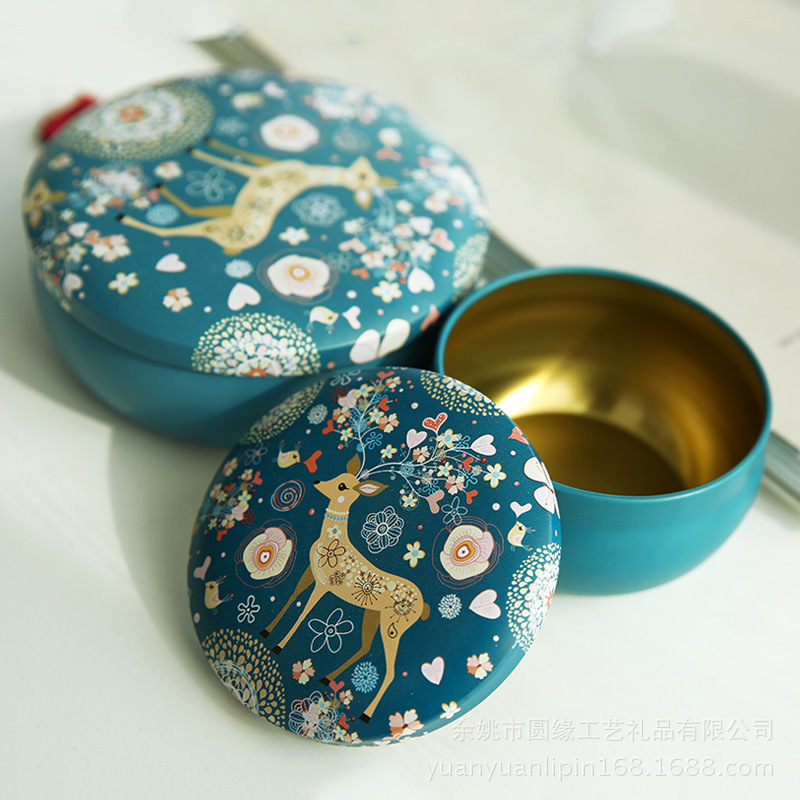 廠家直銷定制款現貨創意小號圓形馬口鐵盒子復古小鹿飾品鐵罐