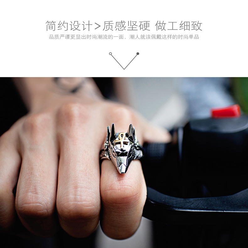 Titanium&Stainless Steel Korea Geometric Ring  (Jinmei No. 7) NHOP3098-Jinmei-No-7