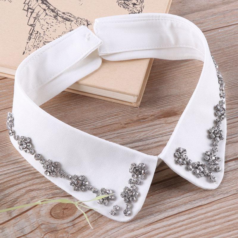 缀美清新花朵小水钻假领子女纯色领圈衬衫领衬衣领春秋冬季假衣领