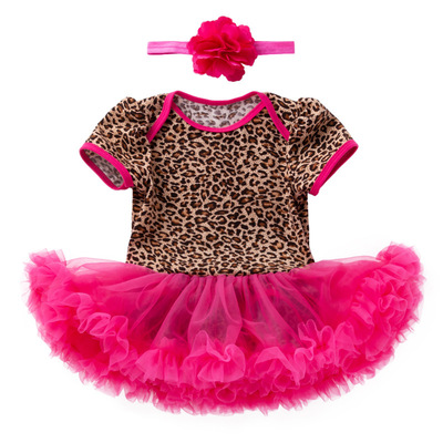 Baby birthday party dresses girl Jumpsuit dress printed leopard rose short sleeve princess dress Baby party dresses birthday dress