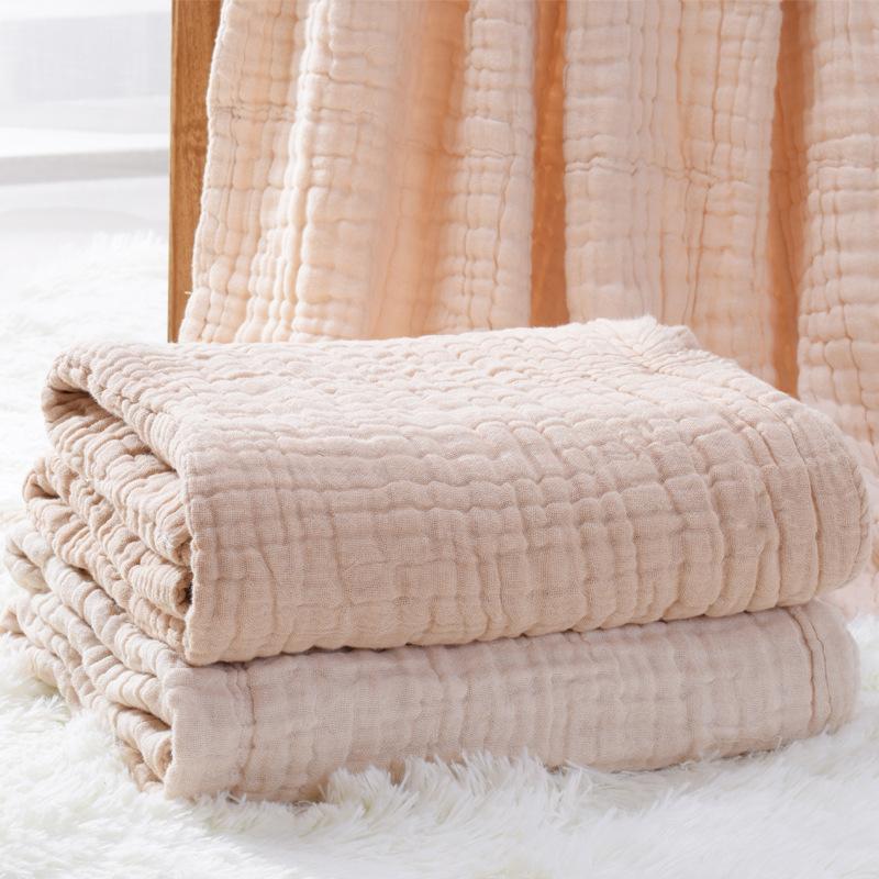 宝宝纱布浴巾 6层新款彩棉轻薄易吸水纱布盖被无荧光易吸汗抱被