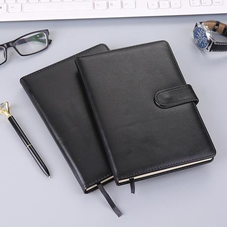 Nhà sản xuất notepad dày A5 tùy chỉnh văn phòng kinh doanh cung cấp máy tính xách tay PU cao cấp có khóa 112 da đen