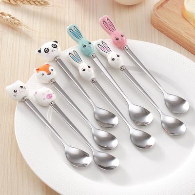 动物创意陶瓷不锈钢勺子卡通汤勺儿童搅拌勺家居日用礼品餐具批发