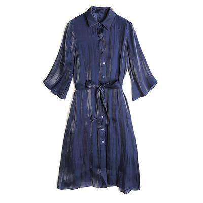 2018秋季设计款高端金属丝亮丝面料品牌2件套衬衫裙外套裙MH1703