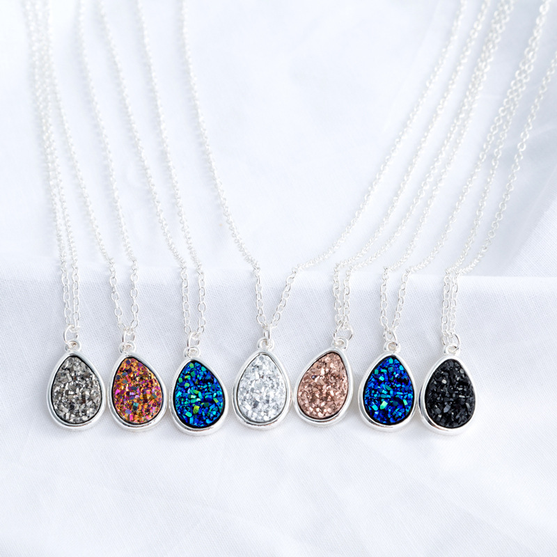 Simple and versatile resin imitation natural stone love drop shape necklace NHAN251909