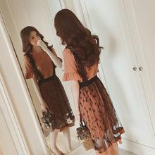 2018夏季新款韓版時尚顯瘦背帶蕾絲連衣裙甜美套頭喇叭袖兩件套裙