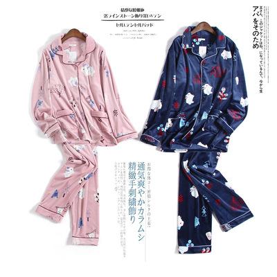 海岛绒情侣睡衣女秋冬季时尚开衫加厚法兰绒男士家居服套装