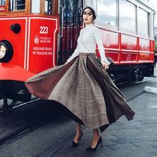 2018新款女神范軟妹慵懶風針織毛衣格子大擺裙子兩件套連衣裙
