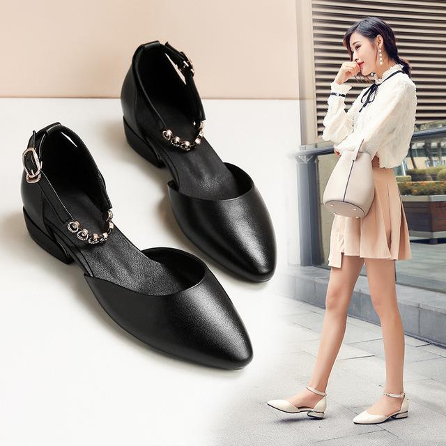 19春季新款全真皮女單皮鞋低跟方跟一字扣時尚潮鞋S1896加大碼43