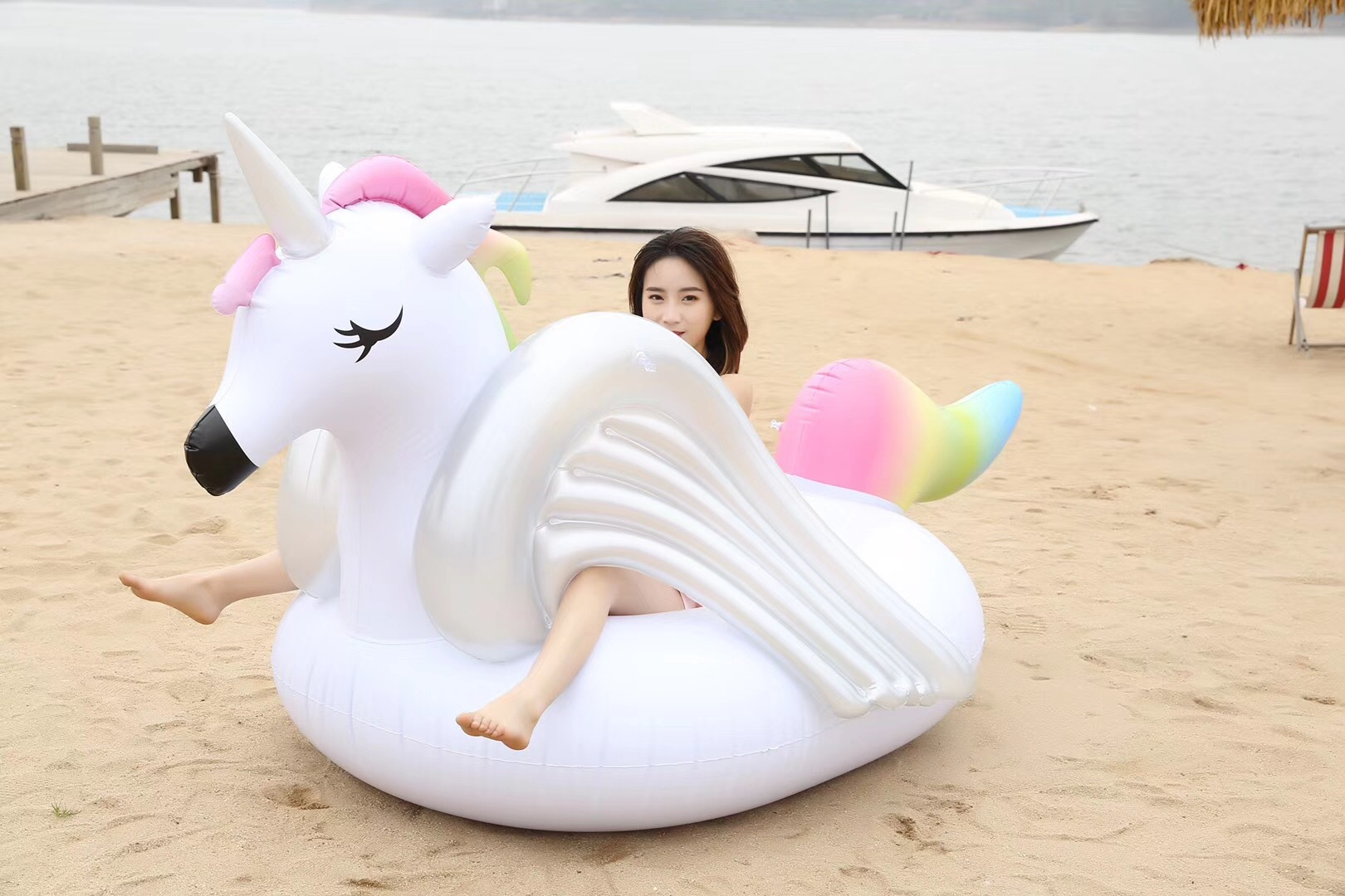 Plastic Cute  Swimming ring  (Rainbow horse) NHWW0163-Rainbow horse