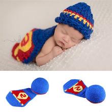 嬰兒連體帽 超人新生兒針織毛線攝影套裝 超人嬰兒手工拍照道具