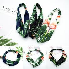 夏季ins新款布艺交叉雪纺发带韩国中间交叉结女士芭蕉叶火烈鸟头