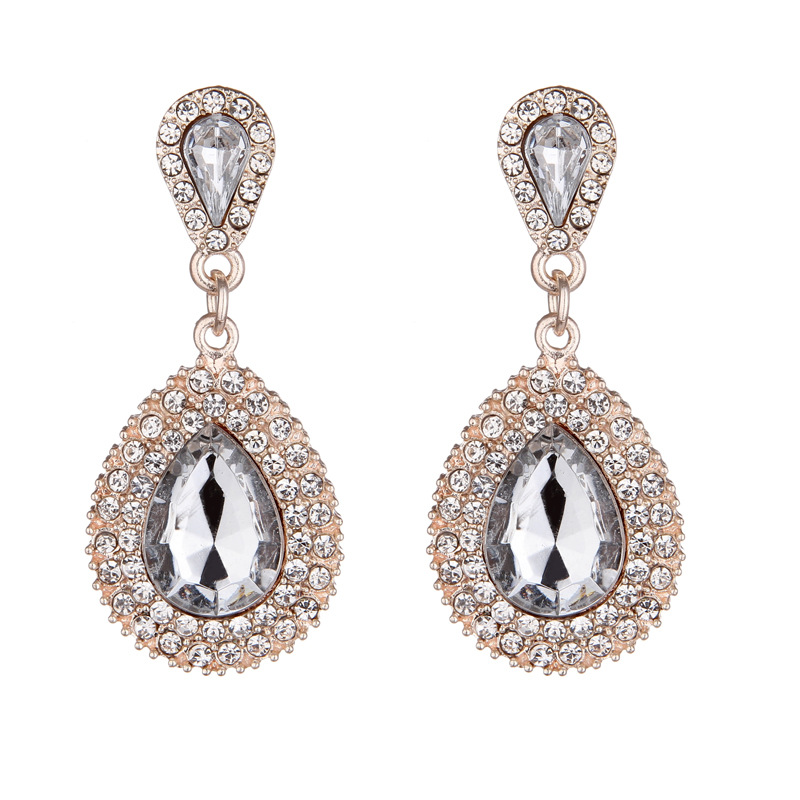 Fashion full rhinestone drop earrings NHNZ144751