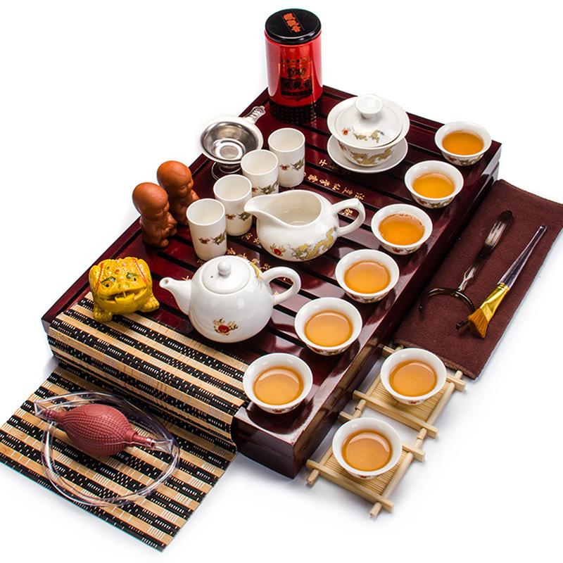 Dehua رسمت باليد السيراميك الأزرق والأبيض مجموعة الشاي الكونغ فو مجموعة الشاي مزيج كوب الشاي المحمولة هدية هدية مخصصة