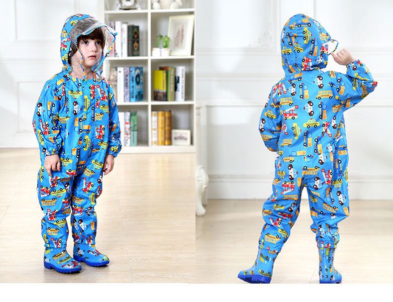 Toddler/Little Kids' cartoon Raincoat for Boys and Girls —— 3 Colors,Hooded,Have Set,One-piece 28