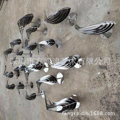 现代中式雕塑不锈钢双镜面鱼 时尚金属水池镂空小品摆件工艺品
