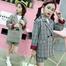 女童格子西装套装2018春款韩版小女孩童装西装上衣休闲短裤两件套
