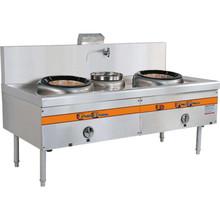 厂家定制厨房设备双头单尾燃气小炒炉不锈钢酒店食堂低耗能炒炉