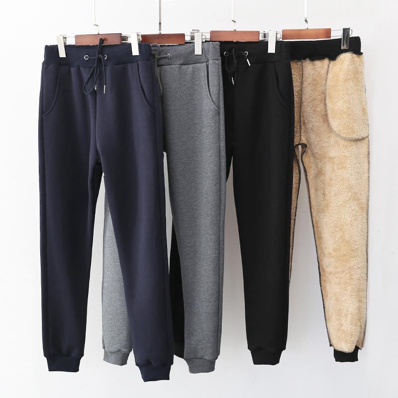 冬季新款加绒加厚棉裤女外穿纯色保暖休闲裤子收口羊羔绒哈伦卫裤