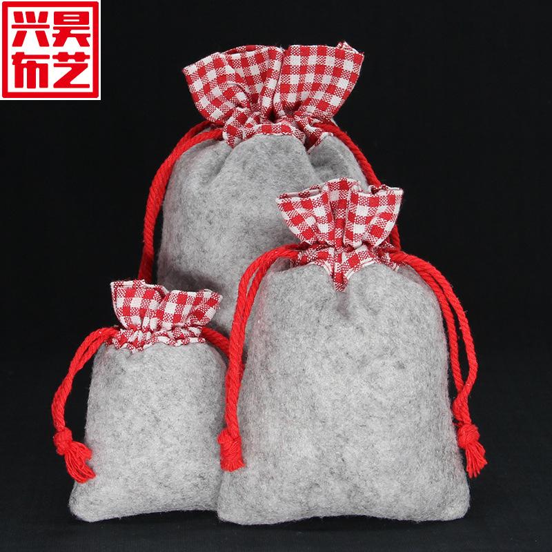 工厂定做高档拼接棉布袋礼品自拍杆棉布束口袋收纳用可印logo