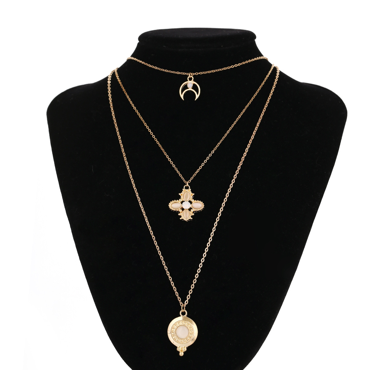 Alloy Fashion Geometric necklace(Golden) NHXR2262-Golden